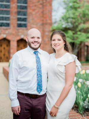 Zumbro and his new wife, Bonnie Sessions, pose outside of the Chapel of Memories at Mississippi State University.
