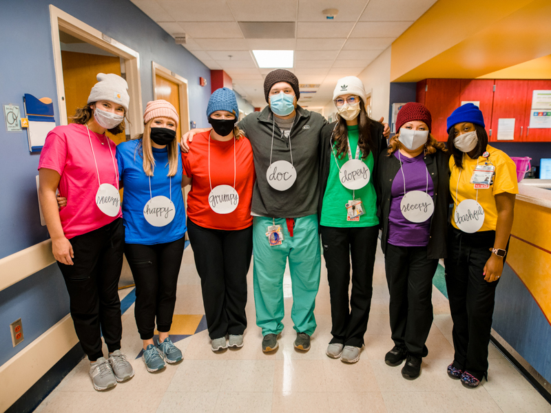 The Seven Dwarves of 3C are, from left, RNs Callie May, Claire Rounsaville, Tatum Hebert, Drew Stringer, Baylie Leblanc, Carmaron Thompson and Iesha Johnson.