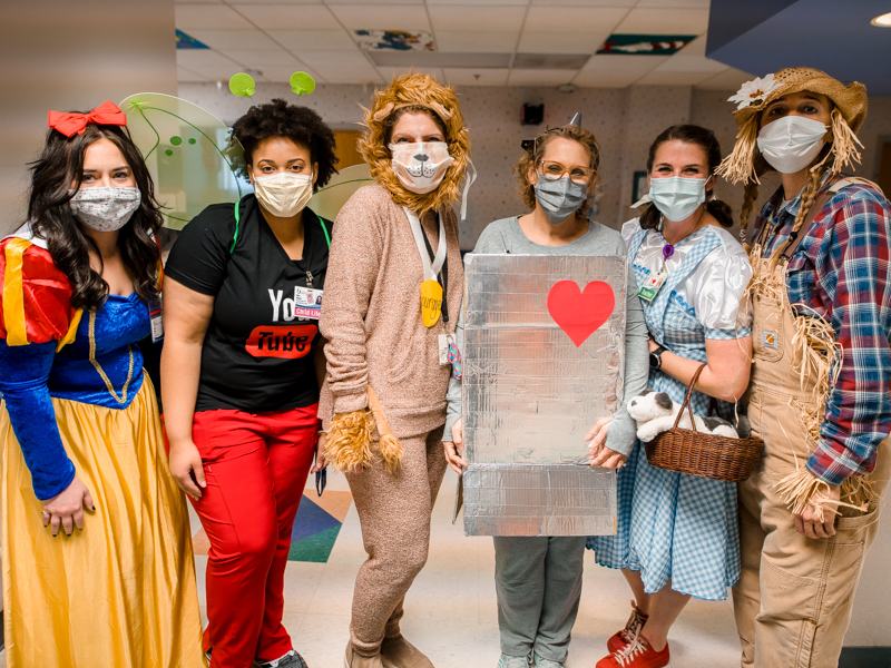 Bringing Halloween fun to Children's of Mississippi patients are, from left, Lindsey Miller, child life specialist Erinn Funches and hospital school teachers Kathy Rankin, Kathy Doonan, Allyn Anderson and Jessica Warren.