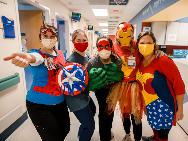 Health care heroes at Children's of Mississippi include, from left, RNs Emily Berry, Megan Gordon, Samantha Siviglia, Lauren Metz and Stacey Wilson.