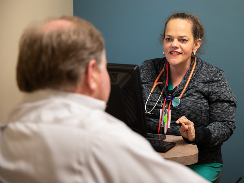 Dr. Katie Patterson, one of only a handful of primary care physicians in Sunflower County, discovered long ago that the rural area is where she belonged - much to the delight, at the time, of then-Indianola resident Stephen Sparks, foreground, the patient who still drives more than two hours, one way, to see her.