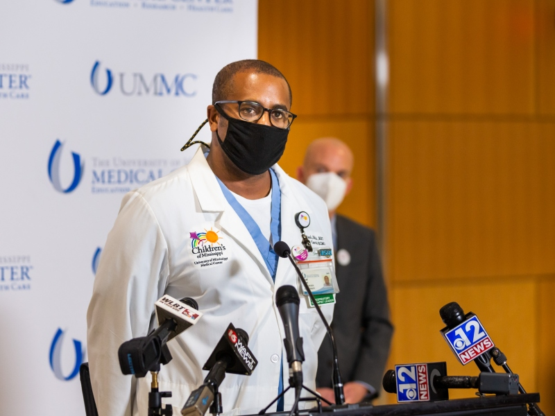 Driscoll DeVaul, director of respiratory therapy, speaks during a Wednesday news conference.