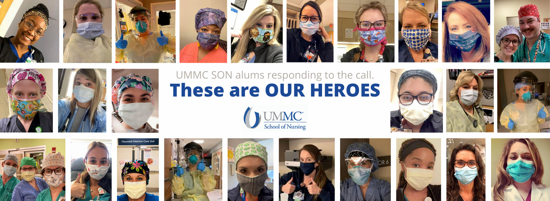 Graphic with many photos of nurses in masks. Text in the middle that reads